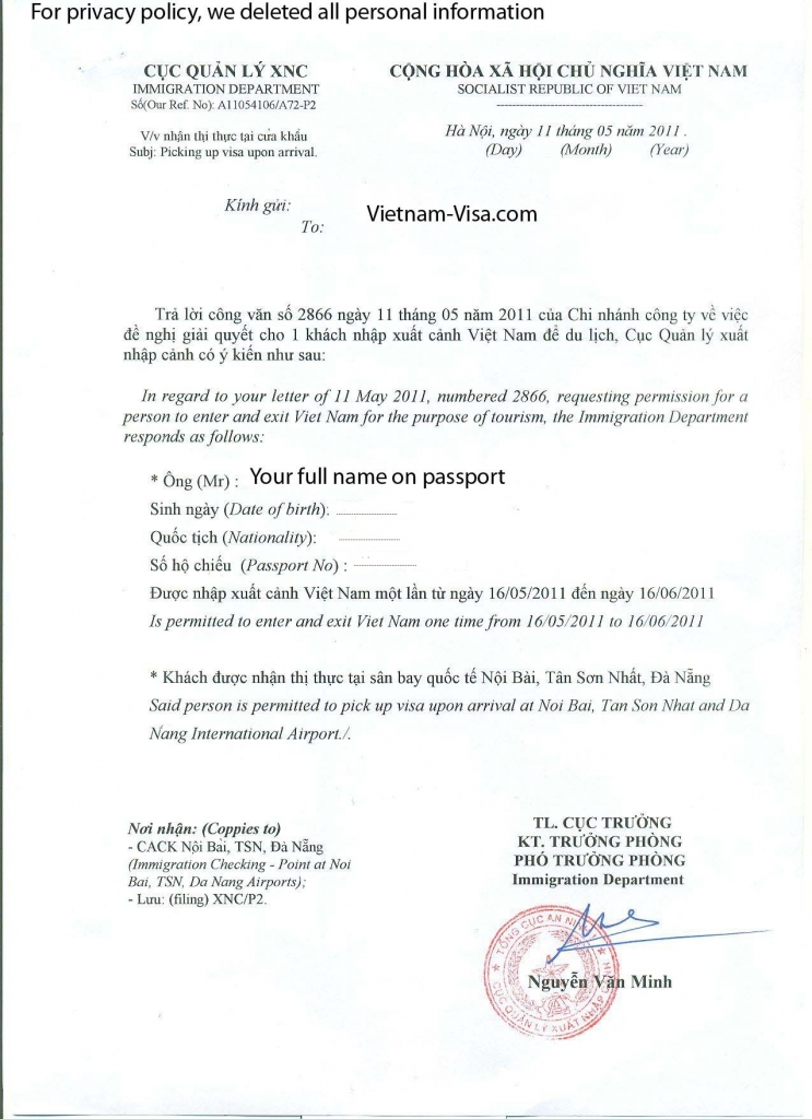Vietnam Visa Approval letter for Visa on arrival